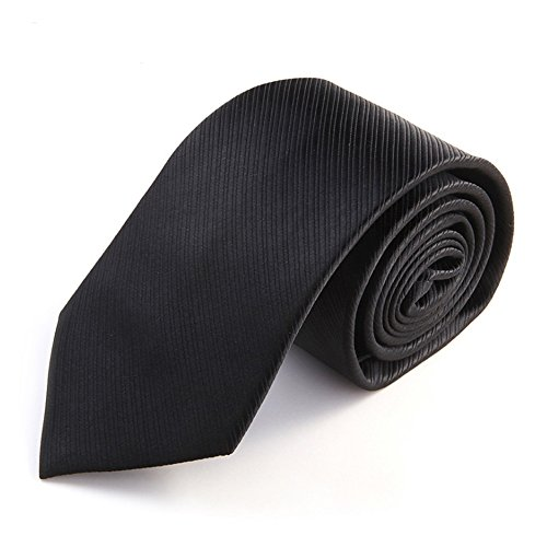 ZSRHH-Neckchiefs Halstücher Männer Krawatte Schwarze Krawatte Seide Polyester Mischung Weave Einfarbig Männer Krawatte mit Geschenkbox (Größe : 7cm) -