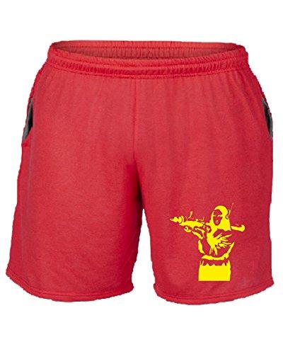 Cotton Island - Pantalone Tuta Corto FUN0696 banksy mona lisa red mens cu 4 1 Rosso
