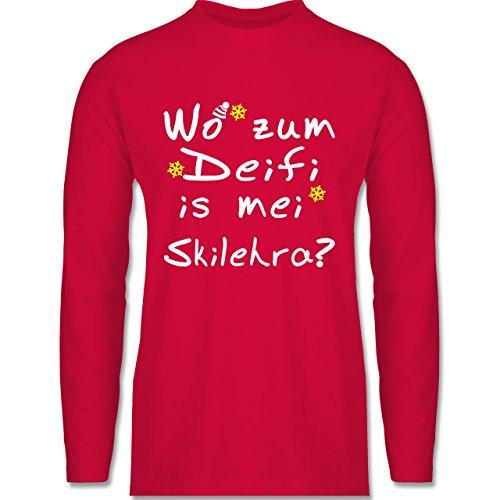 Shirtracer Wintersport - Wo Zum Deifi is MEI Skilehra - Herren Langarmshirt Rot
