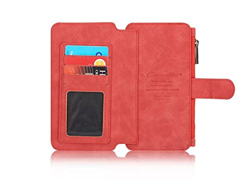 iPhone 6 Plus/6S Plus Case,[Business Type] [Luxury Exterior] [2 in 1 Design] [Multi-functional] Wallet&Back Leather Case--Brown Red