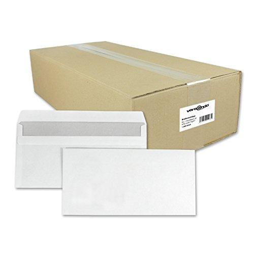 1000 Versando Briefumschläge DIN lang 22 x 11 cm weiß Ohne Fenster selbstklebend, Umschläge, Briefumschläge