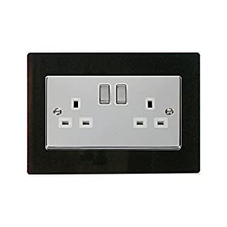 Focus Plastics DOUBLE LIGHT SWITCH SOCKET COLOURED ACRYLIC SURROUND FINGER PLATE - BUY 2 GET EXTRA 1 FREE (10 COLOURS) … (Black)