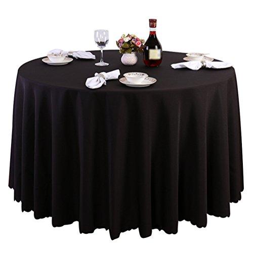 Schwarze Runde Große Tischdecken (Heheja Pure Farbe Tischtücher Eckig Rund Tischdecke Ornamente Schwarz 160cm)