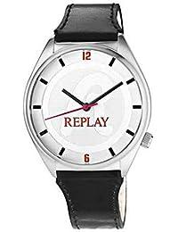 Replay RW5302AF - Reloj con correa de cuero para mujer, color blanco / gris