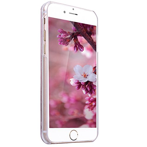 SMART LEGEND iPhone 6S Hardcase, iPhone 6 Bumper Liquid Hülle Glitter Transparent Schutzhülle mit Rosa Blume und Hase Muster Fließen Flüssig Schwimmend Premium Shiny Glanz Sparkle Bling Tasche Skin Sc Lila Flüssigkeit