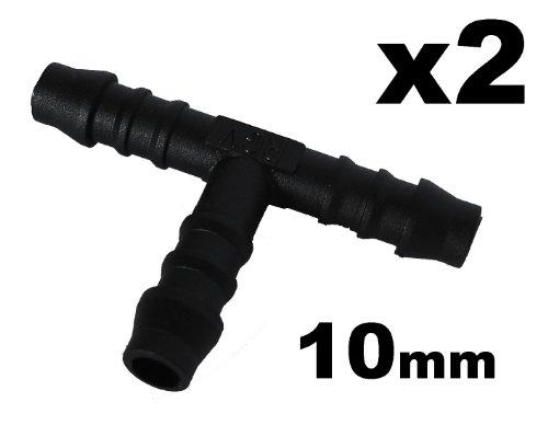 Preisvergleich Produktbild Schlauchverbinder Kunststoff T-Stück x2 - Außendurchmesser 10mm Für Schläuchen