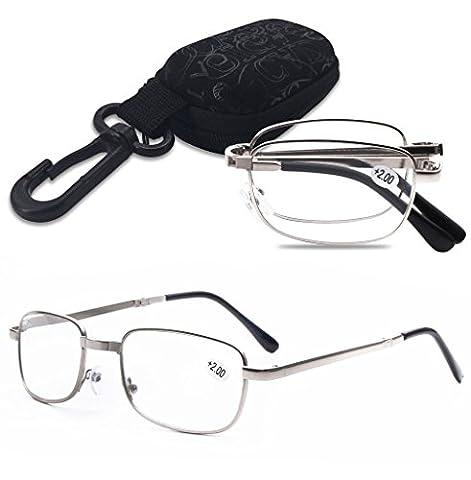 Lesebrille Faltbar Herren Damen Metall Lesebrillen Augen Brille faltbare Mini Brillen Sehhilfe Lesehilfe Sehstärke mit Etui (3.5, SILBER)