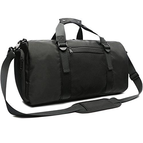 Oflamn Bolsa de Viaje Bolsa Fin de Semana - Bolsa de Deporte con Compartimento Zapatos para Mujeres y Hombres - Sports Gym Bag (2.0 Grande Negro - 33L)