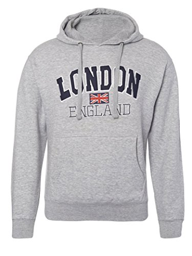 Zone One London England - Sudadera con Capucha Bordada Gris Gris XS