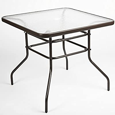LUCKUP Patio Outdoor Dining Table Tempered Glass Top Umbrella Stand Table