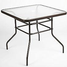 """luckup 32""""x 32"""" patio al aire libre mesa de comedor cristal templado paragüero cuadrado cuadro, Chocolate"""