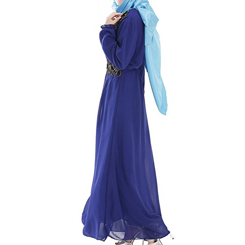 Highdas dame musulmane robe grande taille swing femmes manches longues robe en mousseline de soie islamique bleu royal