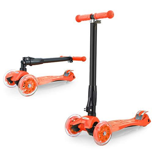 GOSFUN EU Patinete Niña Patinete de 3 Ruedas con Diseño Scooter para Niños de 2 a 12 Años de Edad + Rodillera (Naranja)