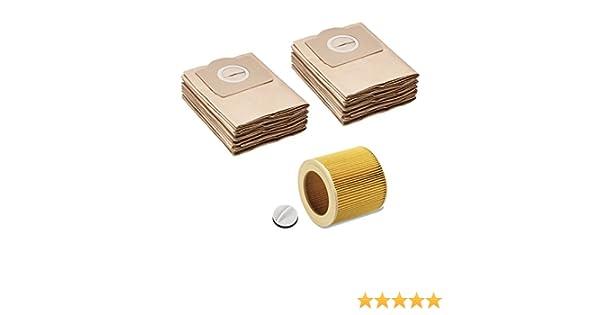 4.075-012.0 adatto per K/ÄRCHER WD2 WD3 MV2 MV3 A2054 A2201 5 sacchetti di carta come 6.959-130.0 filtro a cartuccia come 6.414-552.0