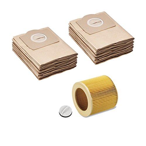 10 Papier-Filter-Tüten wie 6.959-130.0 + Patronenfilter wie 6.414-552.0 + Verschluss 4.075-012.0 passend für KÄRCHER WD2 WD3 MV2 MV3 A2054 A2201 (10 x Papier-Filter-Tüten 1x Patronenfilter)