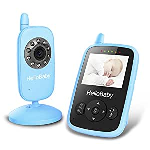"HelloBaby HB24 2.4"" Digital Funk TFT LCD Drahtlos Babyphone Wireless Video Kamera Baby Monitor Babyviewer Überwachung Nachtsicht + Temperatursensor EU Plug(Blau)"