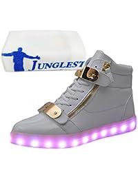 (Present:kleines Handtuch)Weiß EU 41, für Turnschuhe USB Sport mode High-Top LED Schuhe Herren Sportschuhe Farbe Leuchtend Aufladen 7 Sneaker Dam
