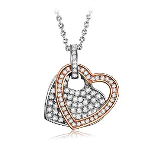 Angel nina 925 sterline d'argento collana per donne doppio cuore gioielli regalo natale compleanno san valentino della mamma fidanzata moglie figlia matrimonio sposa