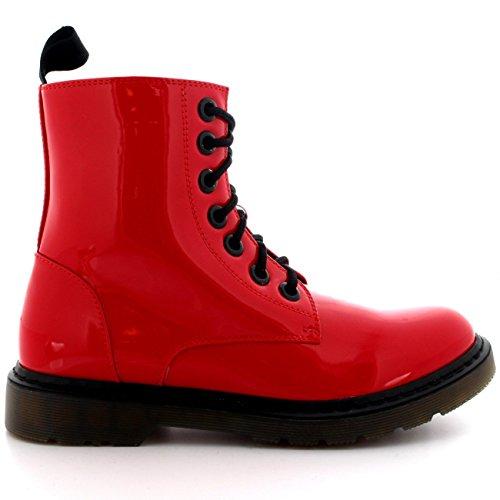 Femmes Militaire Cru Armée Lacer Goth Chaussures Plates Roche Bottes Rouge Brevet