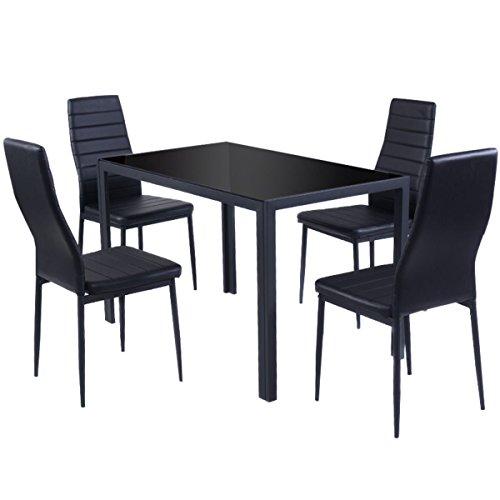 Esstisch Stuhl Set Essgruppe Tischgruppe Esstischgruppe Sitzgruppe Esszimmergarnitur Glas Metall Esstisch (Schwarz, Tisch mit 4 Stühle) -