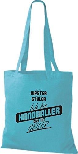 Shirtstown Stoffbeutel du bist hipster du bist styler ich bin Handballer das ist geiler sky