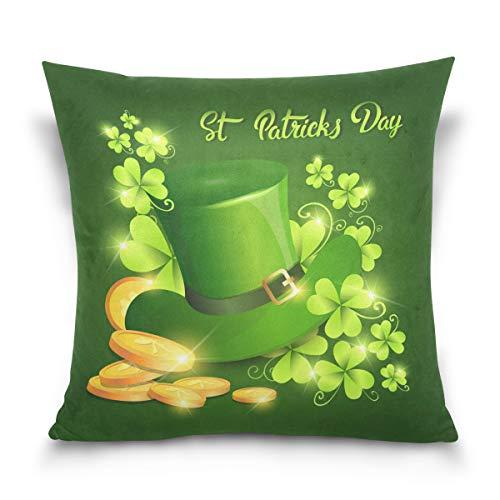 Happy Patricks Day Kleeblatt-Kissenbezug, Standardgröße, Mütze, grünes...