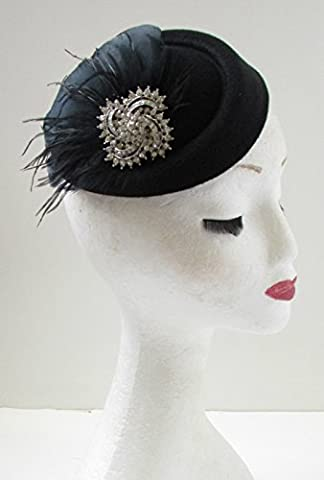 Black & Silver Feather Pillbox Hat Fascinator Vintage 1940s 1920s
