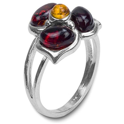 Ambra Multicolore e Argento 925/1000anello fiore, Argento 925/1000, 9, colore: coloré, cod.