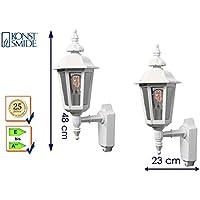 Konstsmide Pallas Outside Wall Light–Aluminium/Acrylic Glass/White, H 48, Building Light Up Lantern 518250