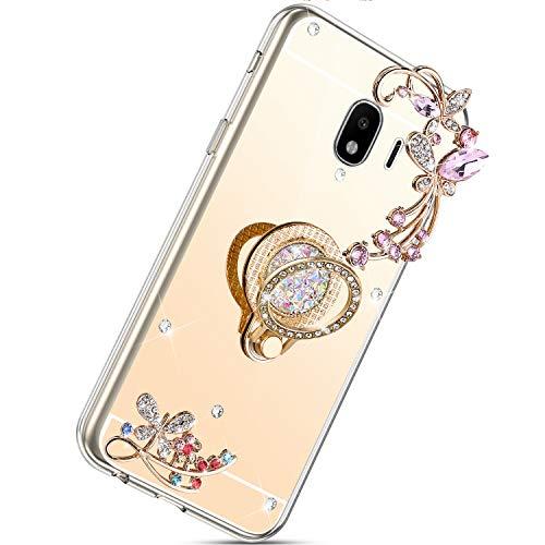 Herbests Kompatibel mit Samsung Galaxy J4 2018 Hülle Glänzend Diamant Kristall Strass Glitzer Spiegel Schmetterling Blumen Handyhülle Silikon Schutzhülle Case mit Handy Fingerhalterung,Gold