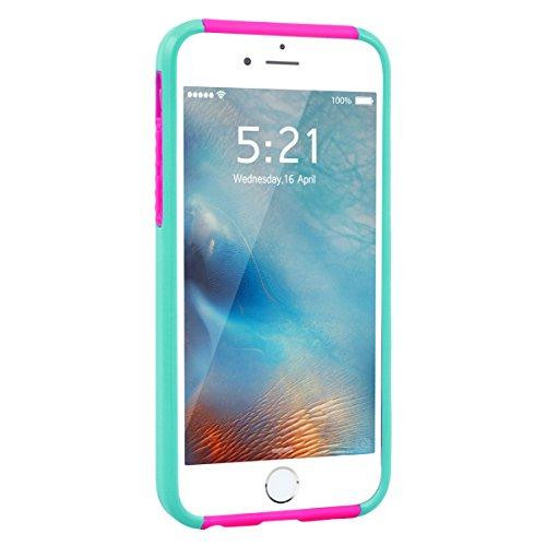 GrandEver Coque iPhone 6s Plus / iPhone 6 Plus [ 2 en 1 ] Mandala Motif Design Silicone Souple Bumper et PC Dur Rigide Couche Double Backcover Etui Housse Case pour iPhone 6 Plus/6s Plus --- Vert Blan Vert Rouge