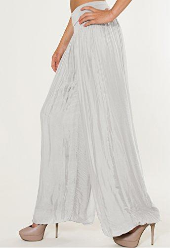 CASPAR KHS010 Damen elegante lange Seiden Chiffon Marlene Hose / Hosenrock mit hohem Stretch Bund Hell Grau