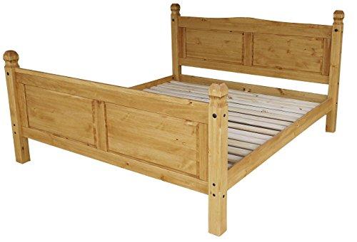 Brasilmöbel Doppelbett Rio Classico 180 x 200 cm - Pinie Massivholz Honig - in vielen verschiedenen Farben - edles Pinienholz - massiv aus nachhaltiger Forstwirtschaft - Schlafzimmer Pinienmöbel