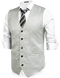 7a45c414705b Hasuit Homme Gilet Costume Veste Sans Manches Imprimé Business Mariage  Taille ...