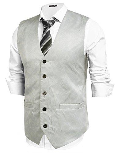 Hasuit Herren Anzugweste mit Stoffdruck Einreiher Fünf Knöpfe Weste (5-knopf-weste)