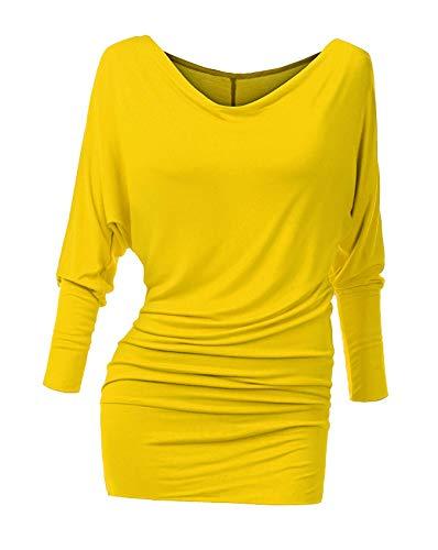 Suimiki Damen Langarmshirt Pullover Fledermaus Pulli Tunika Stretch, Leuchtendes Gelb, L