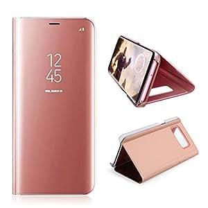 AURSEN Galaxy S8 Mirror Clear View Standing Schutzhülle Flip Handy Case Cover Tasche für Samsung Galaxy S8 Rosa Gold