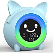 ZSNKJ Kids Alarm Clock, Children Sleep Training Alarm Clock, Wake Up Light Digital Clock Sleep Trainer Night L