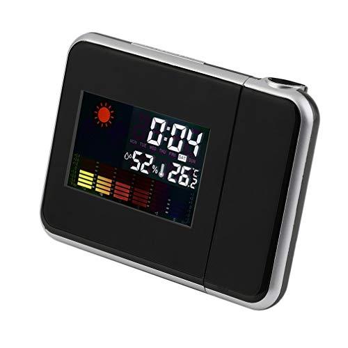 Garciadia Schwarzer digitaler LCD-Bildschirm Wetterstation Wettervorhersage Kalender Projektor Snooze Wecker 2 Modi Kunststoffgehäuse