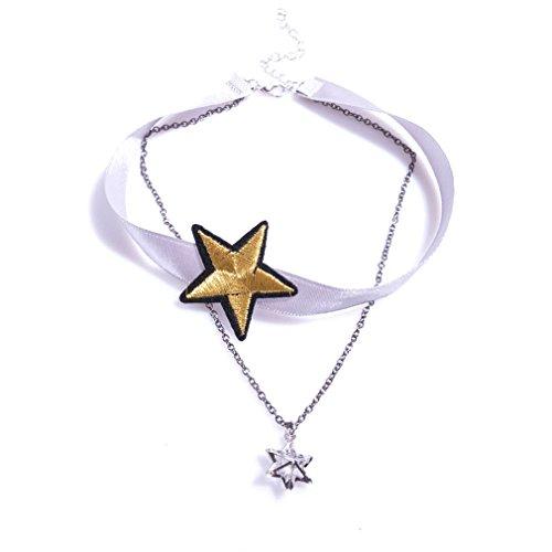 YAZILIND Schmuck Gothic Lolita Golden fünfzackigen Stern Anhänger Halskette Choker Damen verstellbar