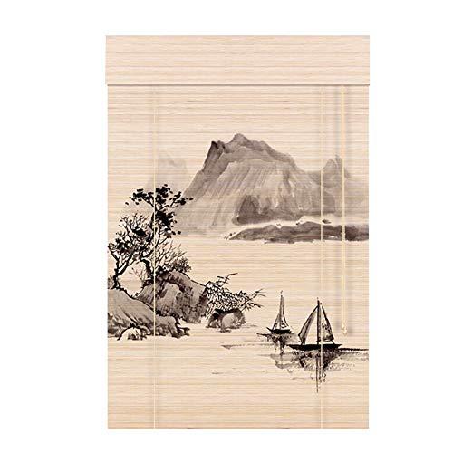 Estor enrollable YXX Cortinas oscuras del Rodillo de la Ventana con la manija de Madera, persianas clásicas de Las Cortinas de bambú con la Cenefa Plana, fácil de Colgar (Tamaño : 90x135cm)