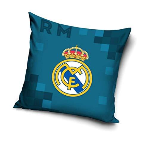 RealMadrid - Funda de cojín 40 x 40 cm, sin Relleno, algodón, Real Madrid 18102, 40 x 40 cm