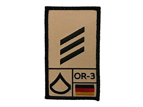 Café Viereck ® Hauptgefreiter Bundeswehr Rank Patch mit Dienstgrad - Gestickt mit Klett - 9,8 cm x 5,6 cm