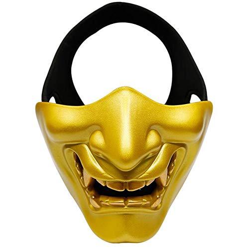 L Big Boss Halloween Prajna Maske COS Teufel Horror Grimace Männer und Frauen Erwachsene Halbmaske Gr. Einheitsgröße, gold
