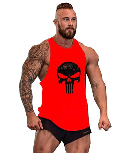 Herren Tank Top Men Cotton Stringer Fitness Gym Shirt Solide Skull Totenkopf T-Shirt Weste Muscleshirt Print Sport Vest (M, Rot)