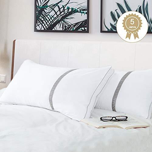 BedStory 2er Set super weich Mikrofaser Kopfkissen(1700g), hochwertige 40x80x22cm Komfort, Doppelseitenband-Design behält die Form dauerhaft Flauschig, Hotel Qualität CertiPUR-US 10 Jahre Garantie