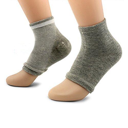 DealMux 1 Paar geöffnete Zehe-Sleeves Exfoliating Moisturizing Dry Skin Spa bequeme Gel-Ferse Socken Hellgrau (Spa Zehen)