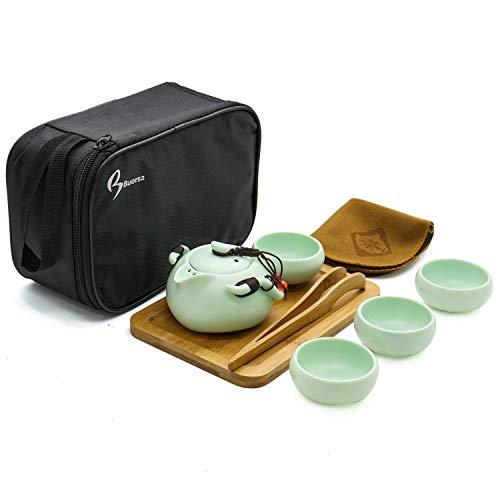 Uteruik 8-teiliges Reise-Teeset im chinesischen/japanischen Stil, Porzellan, handgefertigt, Kung-Fu-Teeset mit Reisetasche (4 Tassen)