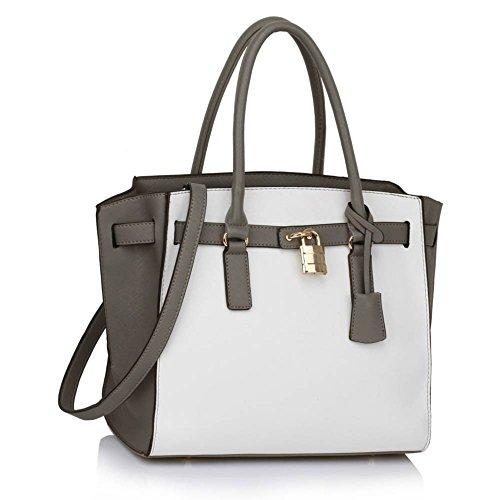 LeahWard® Damen Mode Essener Tragetaschen Qualität Vorhängeschloss Schultertasche Handtaschen 468 396 (Groß Taschen-Grau/Weiß) (Handtasche Weiß Chloe)