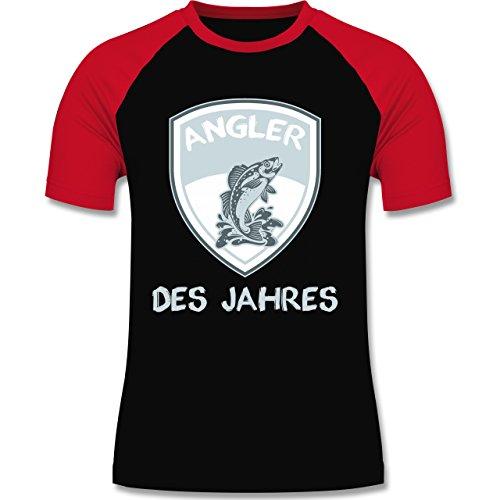 Angeln - Angler des Jahres - zweifarbiges Baseballshirt für Männer Schwarz/Rot
